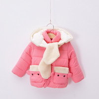 Free shipping Girls' Fashion coat jackets thickening girls warm outwear clothing pink 2013 winter