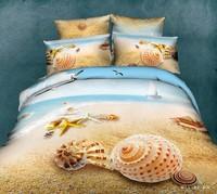 4pc beach starfish cute modern queen size 3d cotton comforter set bedding set sheets quilt duvet cover bed room sets bed linens