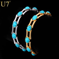 New Fashion Turquoise Bracelets For Women 18K Real Gold Plated 10 MM Chunky Chain Turkey Stone Bracelets & Bangles Jewelry H340