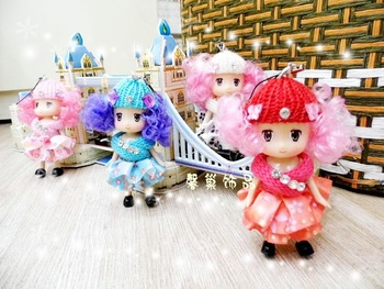 2013 korea beautiful Hooded baby popular doll mobile phone pendant bags pendant girl gift 4colors mix wholesale 4pc/lot