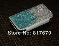 double-colored all rhinestone diamond leather case cover for Samsung Galaxy s4 i9500 with card holder high quality hongkong post