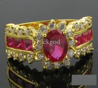 Free Shipping Women 14k Gold Plated Ring Finger Rings Hot Pink Crystal Jewelry Girl Gift With Box
