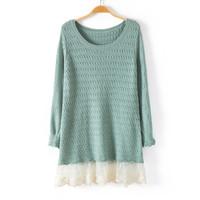 Korean version of Hitz loose long-sleeved sweater sweater hem Girls Long lace stitching bottoming shirt big yards