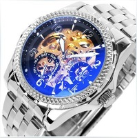 Mens Mechanical Watch,Cool Silver  Steel Heterochrosis Men's Skeleton Auto Watches Gift  7879hgh