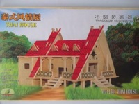 3D wood wooden puzzle doll house model toy miniature free shipping THAI HOUSE