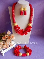 Popular Fashion durm and flower bead necklace + bracelet + earrings coral jewelry set