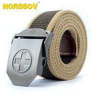 Free Shipping Automatic Cross Buckle Canvas Belt Men's Strap Belt