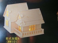 3D  wood puzzle wooden house model miniature doll house toy Europe Light House MW101 free shipping