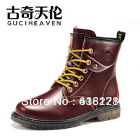 gucihaven shoesFree shipping 2013 Fashion women's genuine cow split leather martin boots white and redwine lacing casual ankle b