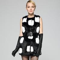 DHL Free shiping Makall rabbit fur black and white plaid patchwork slim waist paragraph female fur outerwear