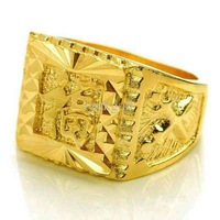 Free Shipping Men Women 14K Yellow Gold Plated Rings Finger Ring Blessing Jewelry Gift Jewelry With Gift Box