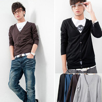 HOT SELL 2013 male v-neck short sleeve sweater casual T-shirt men's long-sleeve cardigan all-match fashion male