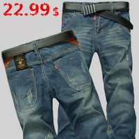 Free Shipping New Men's Jeans high quality Casual Denim Jeans Nostalgic retro Scratch Trousers Straight 100% cotton Medium Waist
