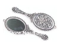 Fashion Jewelry Vintage Silvers Round Mirror Charms Pendants  DIY Jewelry Findings Fit  Bracelets 10PCS 74*26mm Z2026