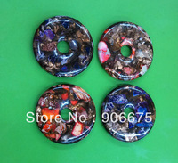New 50x8mm Mixed Multi-Color Sea sediment Jasper Copper Gemstone Jewelry Donut Necklace Pendants Beads Wholesale