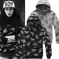 Free shipping! Boy london full-body eagle plus velvet thickening men's clothing male's hoodies 100% cotton sweatshirt couple