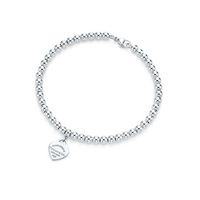 Free shipping T home accessories Return to  Series Silver Heart Tag mini bead bracelet .