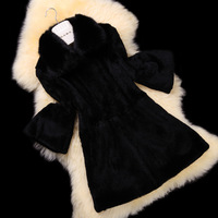 Luxury winter clothes Fur overcoat 2013 rabbit fur medium-long outerwear women's fur coat