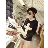 Women's 2013 Autumn Cross Basic Knitted Long-sleeve Shirt Loose Sweater Outerwear