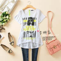 FREE SHIPPING 110 - 136 fashion juniors zipper back low-high t-shirt