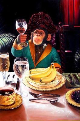 Pintura Leo Divertidos Monos Enorme Sobre Lienzo Del Marco