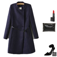2013 Winter Autumn Newly Fashioned European Classic Woolen Stand Collar Unique Long Belted Slim Thick Brief Style Warm Coat