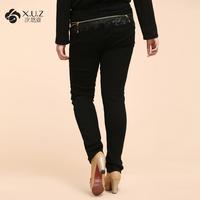 FREE SHIPPING Mm autumn women's 2013 big zipper black skinny jeans 817