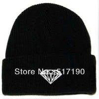 Whosale 100% Acrylic New 2013 Winter Men Women Dimond Knitted Hat Fashion Korean Warm Beanie Men Women Winter Cap Beanie