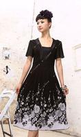 FREE SHIPPING Plus size 100% cotton print short-sleeve summer dress plus size one-piece dress mm one-piece dress