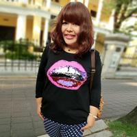FREE SHIPPING Sugar sugar plus size clothing 2013 autumn fashion sequin long-sleeve T-shirt 1531