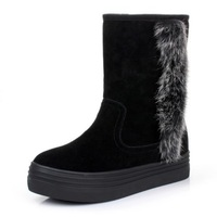 2014 Women Flat Heel Genuine Leather Rabbit Fur Slip-resistant Waterproof Cowhide Women's Plus Size Shoes Snow Boots