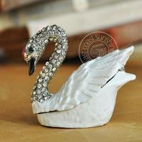 D alloy white swan diamond jewelry box desktop decoration meike holy