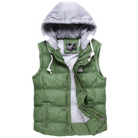 2013 New winter men's Cotton vest, Fashion warm men's vest Outerwear Coats, Black / Blue / Green / Khaki, M-XXL