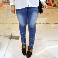 FREE SHIPPING 2013 sugar plus size clothing autumn slim rhinestones ultralarge jeans female 200 825
