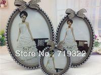 "European popular zinc alloy frames inlaid gray pearls&diamonds size 3"" round wedding photo frame bridal gifts 7088#"