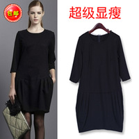 2013 autumn one-piece dress fashion plus size mm autumn clothing involucres long-sleeve dress
