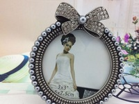 "Free DHL European popular zinc alloy frames inlaid gray pearls&diamonds size 3"" round wedding photo frame bridal gifts 7088#"