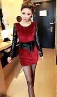 The New Stylish And Elegant Stitching PU Leather Shoulder Pads Slim Dress Velvet Send Girdle