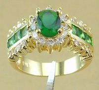 Free Shipping Women 14K Yellow Gold Plated Rings Simulation Emerald Rings Gift Jewelry With Gift Box Size 8