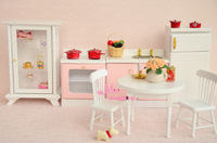 Free Shipping ! Wood Pink White Kitchen Dinning Room Set 7PCS  ~ 1/12 Scale Dollhouse Miniature Furniture