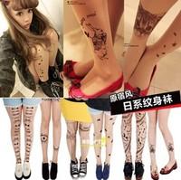 B002 HARAJUKU tutuann print stockings ultra-thin transparent print stockings