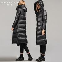 Black color black down coat medium-long female fashion brief