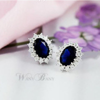 Free shipping Accessories vintage classic luxury zircon earring stud earring gift