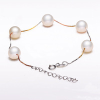 8-9 mm is round and flawless bright natural freshwater pearl bracelet with free shipping