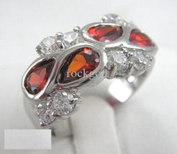 Free Shipping Women 14K Gold Plated Rings Red Crystal Rings Finger Jewelry Party Jewelry With Gift Box