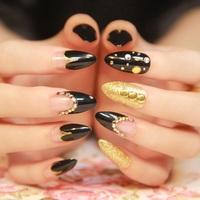 super rock star mix match false nail, rivet punk Glitter stiletto fake nails tips,24 pcs,free shipping