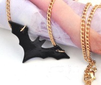 Shipping Free 2014 Wholesale Fashion Personaltiy Punk Classic Black Bat Long Necklace For Female JN-015