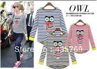 S-XXL Free Shipping Women's Plus size Striped cotton long sleeve short sleeve T-shirt Women autumn owl Pattern T shirt