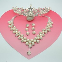 perolas The bride hair accessory married necklace three pieces set wedding jewelry pearl wedding accessories  perla