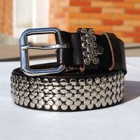 100% Genuine Leather Vintage Punk Rivet  Rock New 2014 Men Motorcycle Belts Fashion Brand  Men Belt  Male Straps Ctinto MBT0071